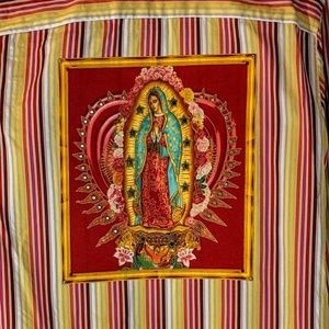 refashioned Shirts - Our Lady Of Guadalupe Refashioned Dress Shirt OOAK